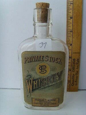 """Antique Labeled """"Private Stock Whiskey-Phila PA."""" dated """"1906"""" 41/37"""