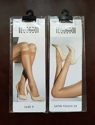 New Wolford Socks/Knee-High x2 Satin Touch 20 and Luxe 9
