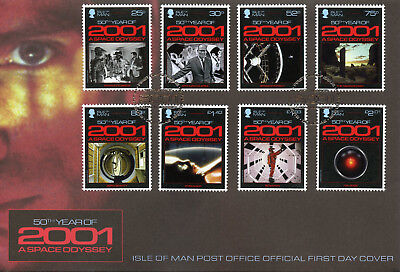 Isle of Man IOM 2018 FDC 2001 Space Odyssey Arthur C Clarke 8v Cover Stamps