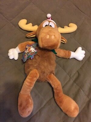VTG Rocky & Bullwinkle Christmas Stuffed Animal NWT'S 24 ""