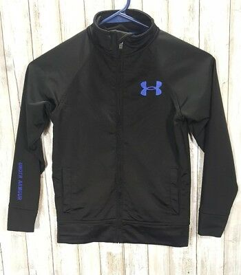 Under Armour Girls Full Zip Fitted Jacket Black Blue Spell Out Size 6