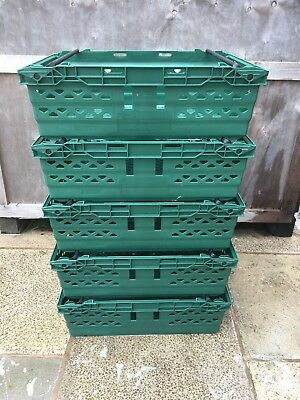 5 x Green Bail Arm Crates/Trays/Plastic Baskets. Excellent Condition. Unbranded
