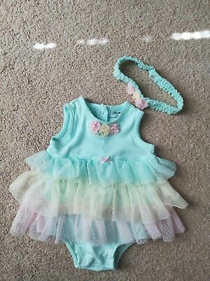 little me baby girl outfit with headband. size 9 months. EUC!!!