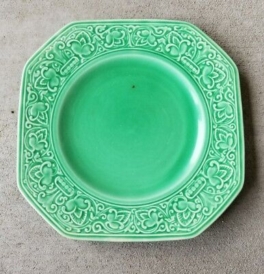 Homer Laughlin HTF Old Roman Pattern Square Green Plate, As Is, Small Chip