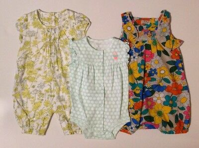 NEXT & M&S Baby Girls X3 Floral & Polkadot Romper Baby Grow Bundle 12-18 Months