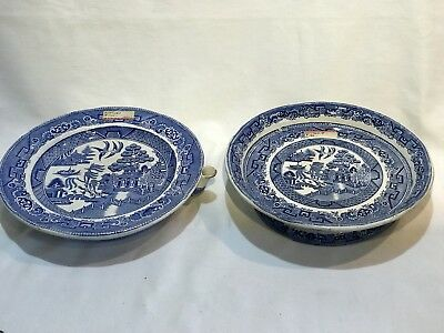 Lot of TWO Antique Blue Willow Serving Plates; Hot Water Warming Plate & Serving