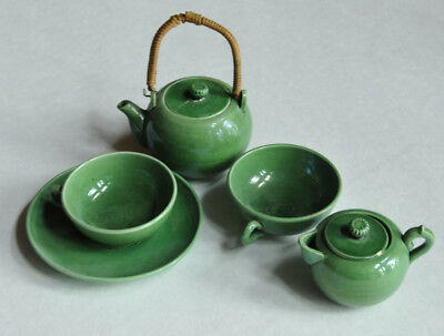 ANTIQUE CHILD'S GREEN Glazed Earthenware Pottery MAJOLICA Toy TEA SET ENGLISH