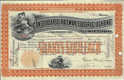 NEW JERSEY 1904 Consolidated Railway Electric Lighting Co Stock Certificate
