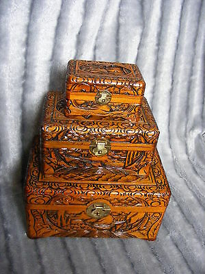Set of Three Antique Style Carved Chinese Oriental Wooden Nesting Trunks Boxes