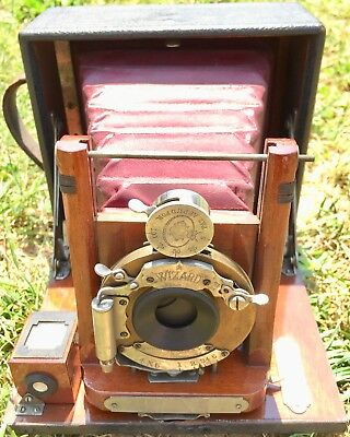 Antique 1899 Manhattan Optical Cycle Wizard Camera Red Billows As Is