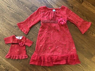 "Dollie and Me Dress w/Matching Doll Dress sz 4/5 Fits 18"" American Girl Dolls"