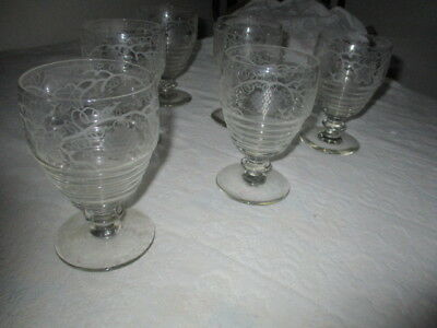 Rare Antique 1800's Crystal Hand Etched 6 Glass Set