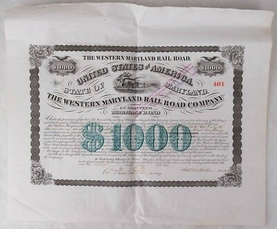 The Western Maryland Railroad Company $1000 Mortgage Bond issued in 1870