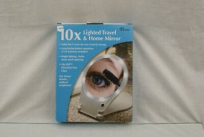 Floxite LED Lighted Travel and Home 10x Magnifying Mirror 21H18