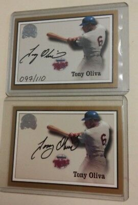 2000 Fleer Great Of The Game Authentic Auto Tony Oliva Lot Of 2 Signed Auto