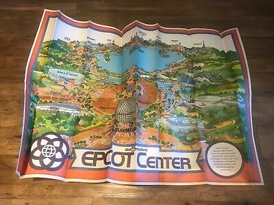 Rare Vintage Walt Disney World Epcot Center Huge Theme Park Map From 1982