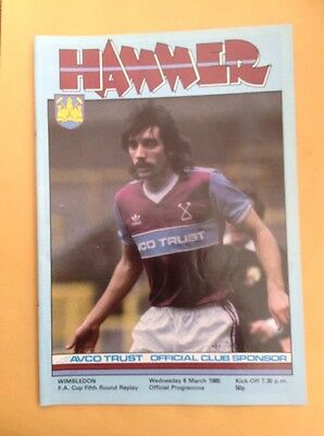 West Ham v Wimbledon football Programme, 6 March 1985
