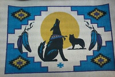 "Placemat Southwestern Howling Wolf theme 13x19"" New"