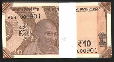 Rs 10 /-  LOW  SOLID  NUMBER  000901 - 001000  SERIAL  PACKET  YEAR  GEM  UNC