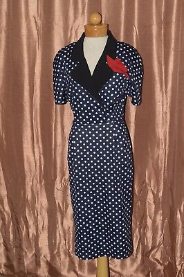 d8a21eda689 Bettie Page by Tatyana 50s Pinup Short Sleeve Collared Pencil Dress Polka  Dot