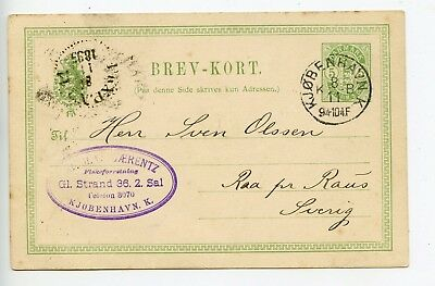 Denmark postal stationery postcard used 1893 (Q260)