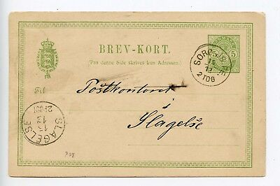 Denmark postal stationery postcard used 1890 (Q138)