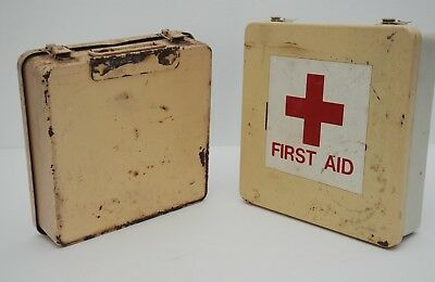 Vintage Full First Aid Kits-Two Filled Medical First Aid Box-Antique First Aid