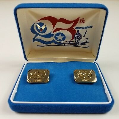 USAF U.S. Air Force 25th Anniversary CUFFLINKS With Case Vintage 1970's