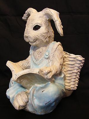 "Rabbit Reading Book Planter / Garden Yard Statue Figure 9.5""H"