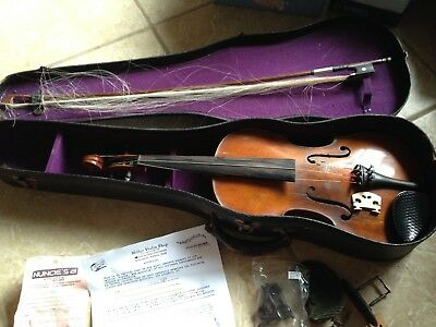 "1732 German 'Strad"" antiique violin, Branded Tourte bow, case & spare parts"