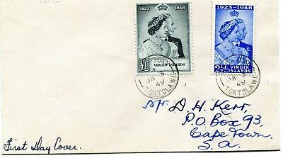 British Virgin Islands 1949 Silver Wedding set used on a First Day Cover
