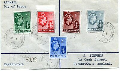 British Virgin Islands SG 110/114 used on a reg. air mail First Day Cover 1/8/38