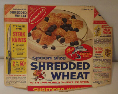 Vintage Nabisco Shredded Wheat Deep Sea Fish Model Partial Cereal Box