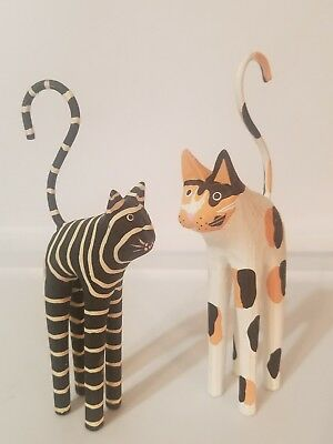 2 VINTAGE Folk Art Hand Carved Painted Wood Cats