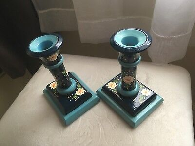 Gorgeous Authentic Bargeware Wooden Candlesticks