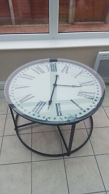 antique glass clock table