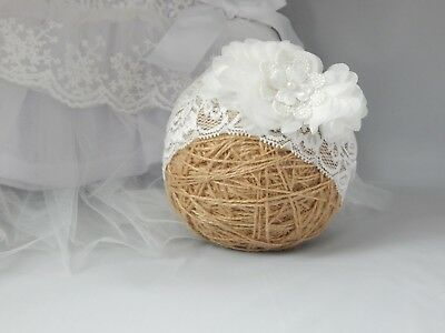 Off white baby headband lace wide hair band for christening baptism Handmade