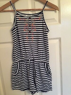 Blue And White Striped Fat Face Playsuit Age 10-11