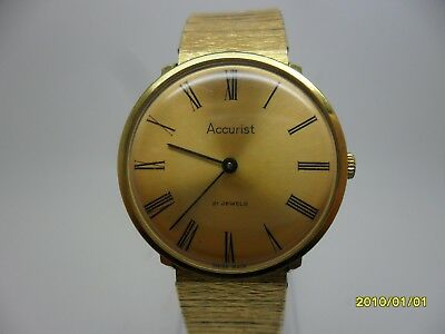 Vintage ACCURIST 21 Jewel Slim Swiss Made Gold Tone Wristwatch - Working