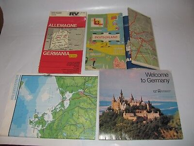 LOT (5) VINTAGE VARIOUS ROAD MAPS OF GERMANY DEUTSCHLAND 1960s - 1980s SHELL RV