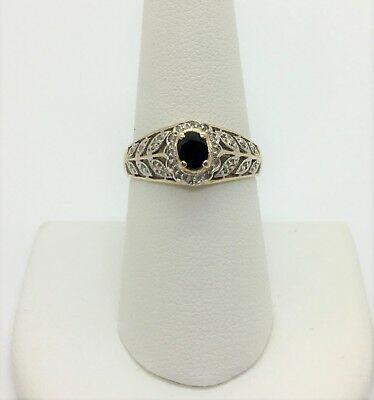 10k Yellow Gold Vintage Blue Topaz and Diamond Ring Size 8