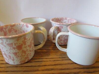 Crow Canyon Enamelware Small 8oz Mug in White/Pink Marble and Rim (Set of 4)