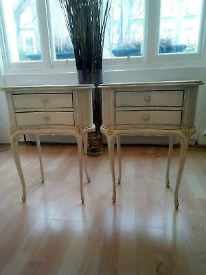 Pair of French Chateau Antique Cream Bedside Tables-Shabby Chic Hand Carved!