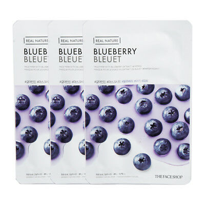 The Face Shop Real Nature Grinding Mask Blueberry Moisture 3pcs Korea Cosmetic