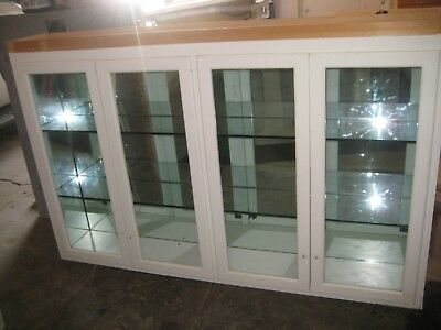 Vintage, Large Wood Kitchen/Pantry/Display Cabinet w Glass Doors