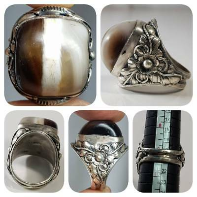 Silver Beautiful Ring with Ancient Dzi Agate Tibetan Stone    # 1G
