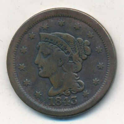 1843 Braided Hair Large Cent-Very Nice Circulated Large Cent-Ships Free!