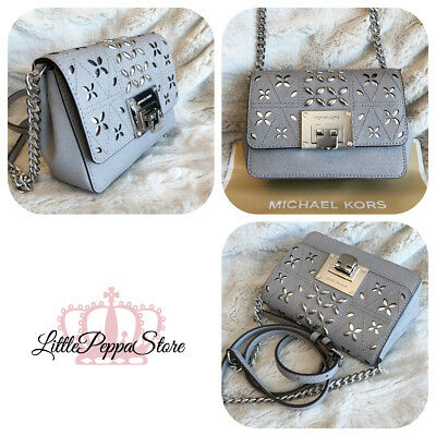 a5f57e8004c6 Nwt Michael Kors Leather Stud Perforated Tina Small Clutch Crossbody Bag In  Grey