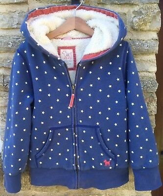 Mini Boden Fleece Lined Hoodie 6-7 yrs Great Condition Blue Stars