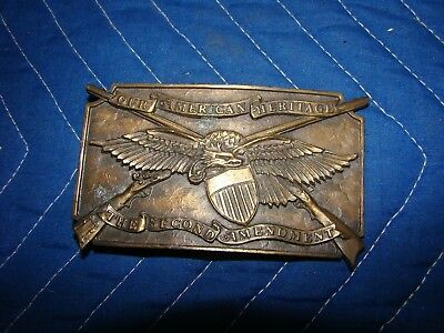 Brass belt buckle vintage 1976 our american heritage the second amendment